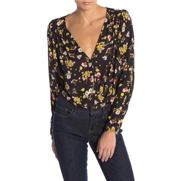 9f3bf74a593a Astr Tops   Bernadette Black Floral Print Bodysuit   Poshmark